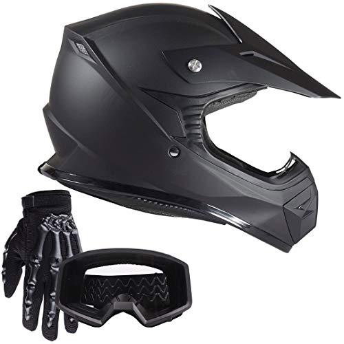 Typhoon Youth Kids Offroad Helmet Gloves Goggles GEAR COMBO Motocross ATV Dirt Bike Motorcycle Matte Black M Medium