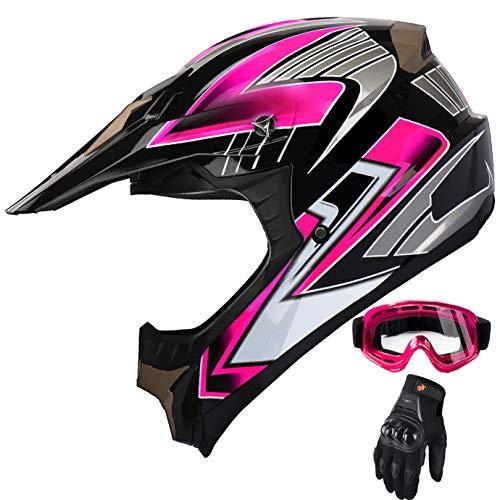 Womens Motocross ATV Helmet Dirt Bike OffRoad Mountain Bike Helmet Goggles Gloves Combo Pink 189 L