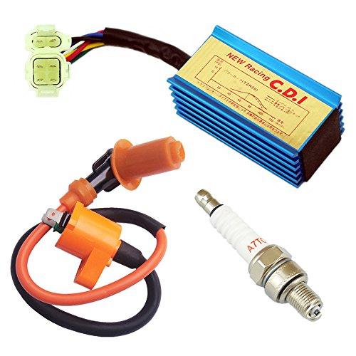 Qazaky 6 Pins CDI  Ignition Coil  Spark Plug for Honda XR50 XR70 XR80 XR100 CRF50 CRF70 CRF80 CRF100 Pit Dirt Bike 50cc - 110cc 125cc 150cc