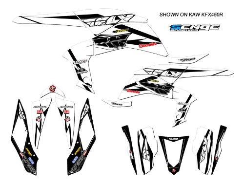 Senge Graphics 2008-2016 Kawasaki KFX 450R 13 Fly Racing White Graphics Kit