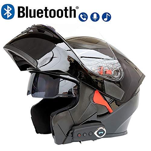 LuanYe Motorcycle Bluetooth Helmets Full Face Flip up Dual Visors Helmet Built-in Integrated Intercom Communication System Black M-2244-2283