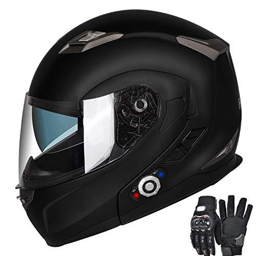Motorcycle Bluetooth Helmets FreedConn Flip up Dual Visors Full Face Helmet Built-in Integrated Intercom Communication SystemRange 500M2-3Riders PairingFM radioWaterproof Matte Black L