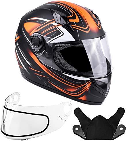 Typhoon Helmets Adult Full Face Snowmobile Helmet DOT Orange XL
