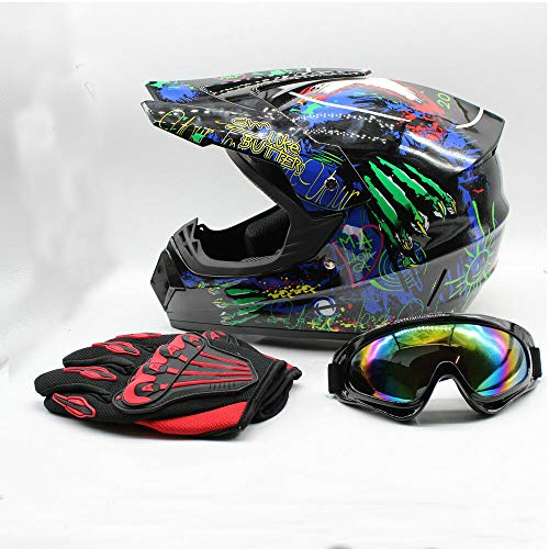 Helmet with Goggles Gloves Dot Youth ATV Motocross Dirt Bike Skull Half Helmet with Goggles Gloves M 1