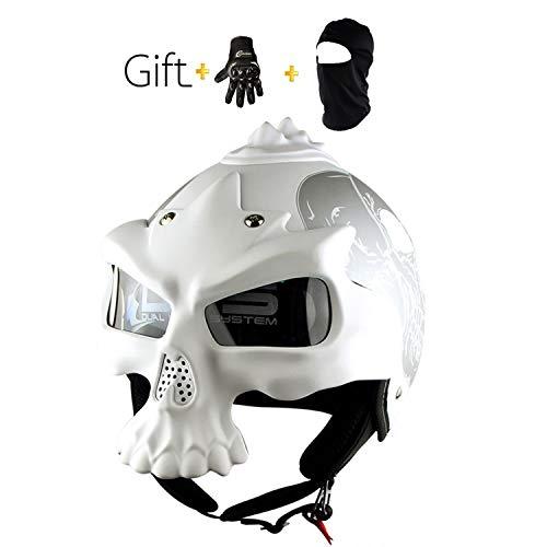 Personality Motorcycle Helmet Adult DOT Certified Road Race Offroad Retro Harley Skull Half Helmet Gift GlovesM L XLM