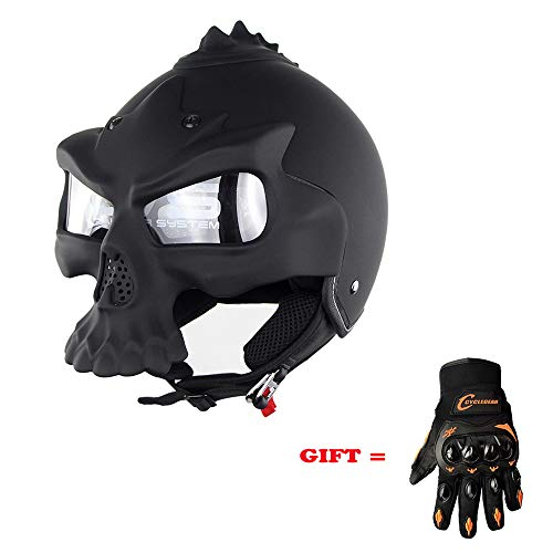 Shfmx Adult Motorcycle Helmet DOT Certified Road Race Off-Road Retro Harley Personality Skull Half HelmetM
