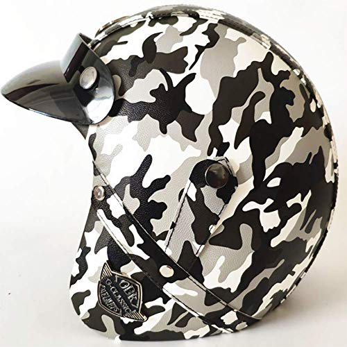 LALEO Camouflage Color PU Leather Retro Harley Open Face Motorcycle Helmet Detachable Keep Warm Breathable for Adults Men Women Half Helmet DOT Approved S-XXL 55-64cmcamouflageblackL