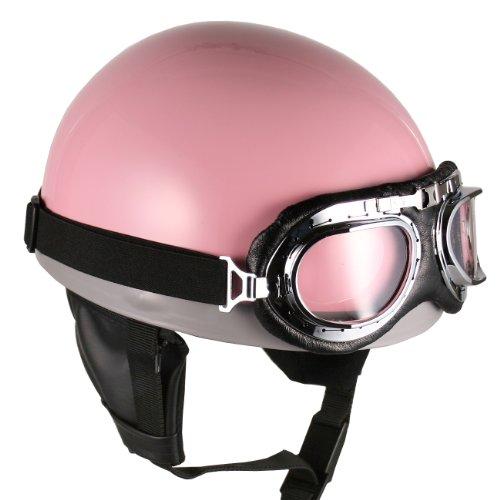 Goggles Vintage German Style Half Helmet Pink Large Motorcycle Biker Cruiser Scooter Touring Helmet
