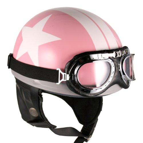 Goggles Vintage German Style Half Helmet Pink White-star  Large Motorcycle Biker Cruiser Scooter Touring Helmet