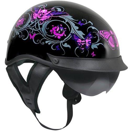 Outlaw T-72 Dual Visor Half Helmet - Flowers and Pink Skull Butterflies - Large