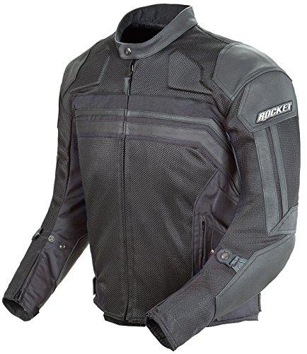 Joe Rocket Reactor 3 Mens Mesh and Leather Motorcycle Jacket BlackBlack XX-Large