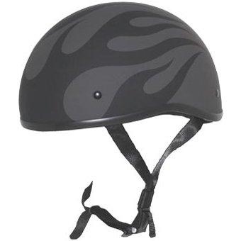 ZOX Unisex Adult Retro Old School Flame Matte Black Half Helmet Z88-00291