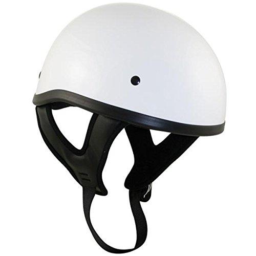 Outlaw T68 DOT White Glossy Motorcycle Skull Cap Half Helmet - Medium