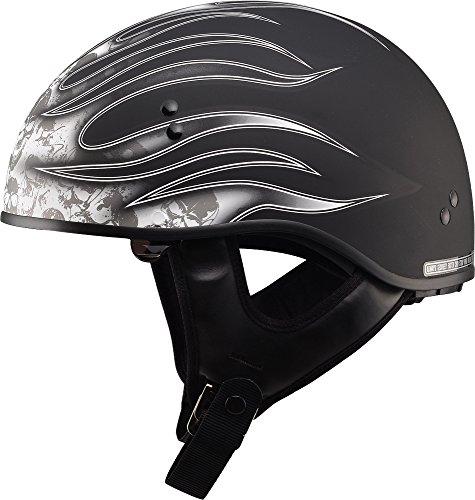 Gmax GM65 Skull Flame Naked Half Helmet Flat BlackWhite Small