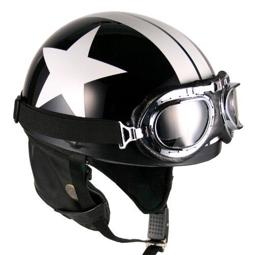 Goggles Vintage German Style Half Helmet Black White-star Large Motorcycle Biker Cruiser Scooter Touring Helmet
