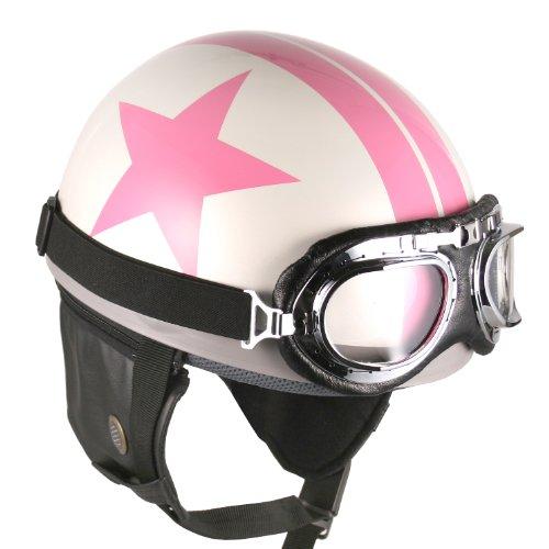 Goggles Vintage German Style Half Helmet White Pink-star  Large Motorcycle Biker Cruiser Scooter Touring Helmet