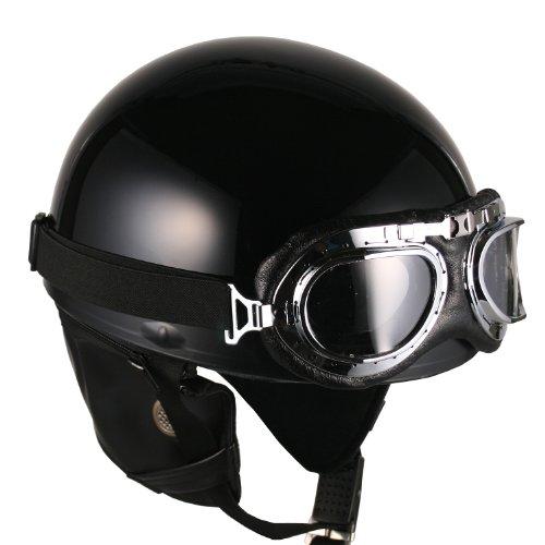 Goggles Vintage German Style Half Helmet Black Large Motorcycle Biker Cruiser Scooter Touring Helmet