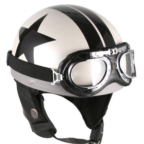 Goggles Vintage German Style Half Helmet White Black-star  Large Motorcycle Biker Cruiser Scooter Touring Helmet
