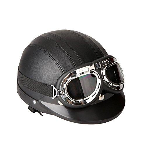 TOOGOOR 40-60 cm Leather Motorcycle Goggles Vintage Garman Style Half Helmets Motorcycle Biker Cruiser Scooter Touring Helmet Black