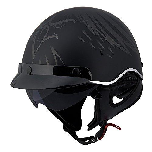 LS2 SC3 Eagle Head Half Helmet with Sunshield Matte Black Medium