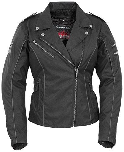Pokerun Mirage 20 Womens Textile Cruiser Motorcycle Jacket - Black  Medium