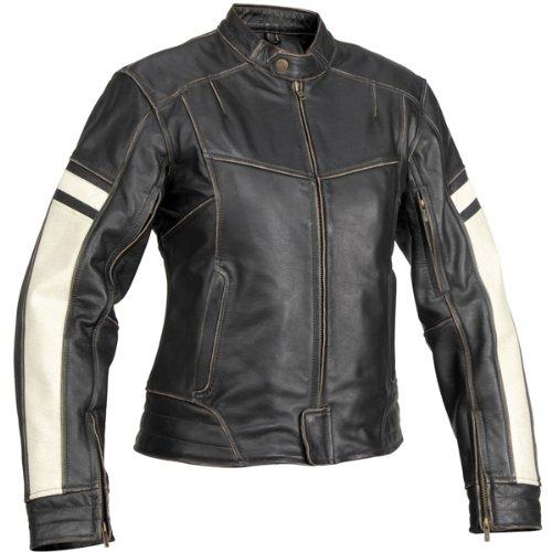 River Road Dame Womens Vintage Leather Cruiser Motorcycle Jacket - Black  Medium