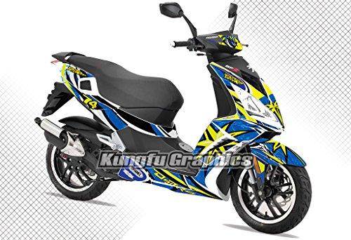 Kungfu Graphics Custom Decal Kit for Peugeot Speedfight 3 Daijiro Blue White Yellow