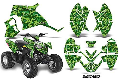 AMRRACING Polaris Outlaw 90 All Years Full Custom ATV Graphics Decal Kit - Digicamo Green