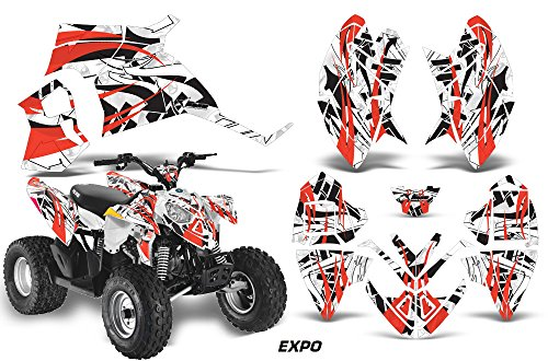 AMRRACING Polaris Outlaw 90 All Years Full Custom ATV Graphics Decal Kit - Expo Red Black White