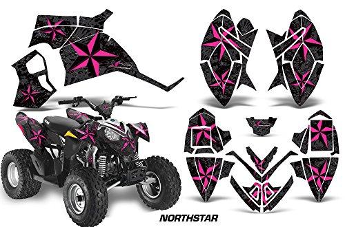 AMRRACING Polaris Outlaw 90 All Years Full Custom ATV Graphics Decal Kit - Northstar Pink Black