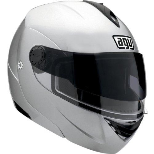 AGV Solid Miglia Modular II Street Bike Motorcycle Helmet - Silver  Large