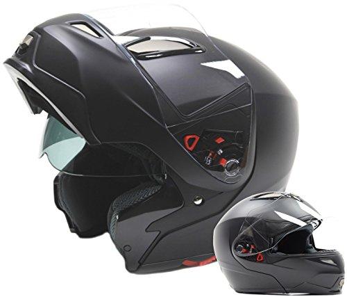 Dual Visor Modular Flip Up Helmet - Matte Black  XXL