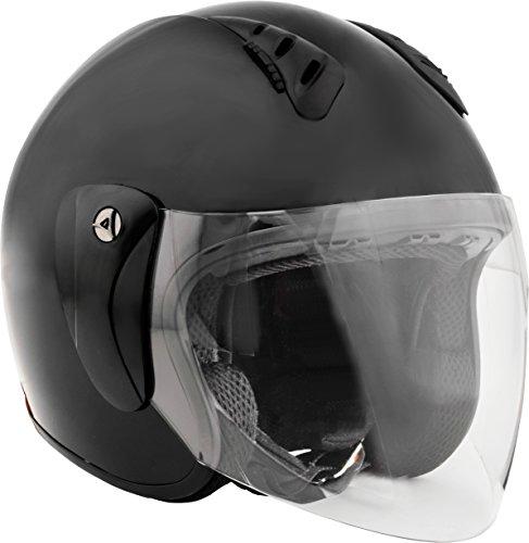 Fuel Helmets SH-WS0017 Open Face Helmet with Shield Gloss Black X-Large