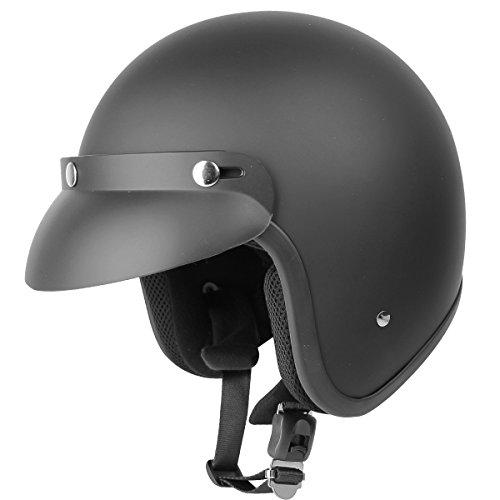 Outlaw V320 Flat Black Motorcycle Open Face Helmet - Large