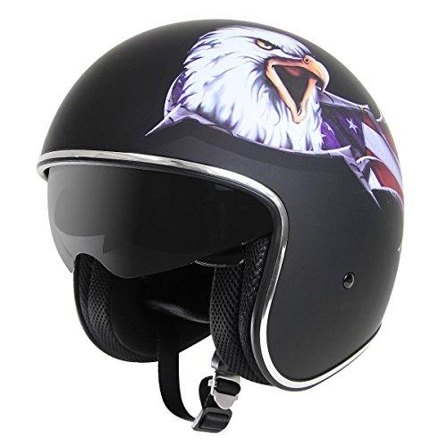 Outlaw V5 Eagle Flat Black with Visor Open Face Helmet - Large