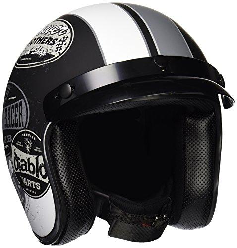Vega X-380 Open Face Helmet with Old Skool Graphic Flat BlackMonochrome X-Small