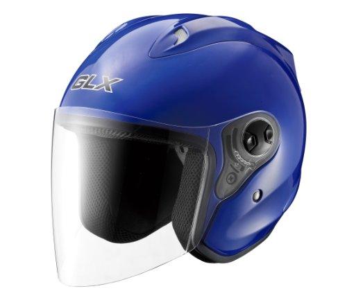Glx Open Face Motorcycle Helmet (blue, X-large)