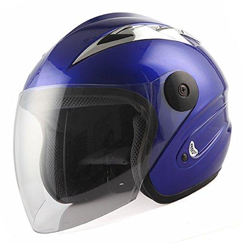 Motorcycle Street Bike Scooter Open Face 3/4 Adult Helmet Blue