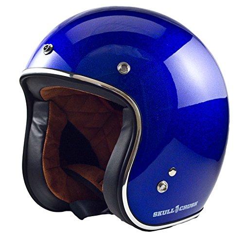 Skull Crush Open Face 3/4 Helmet (large, Blue Mega Flake)