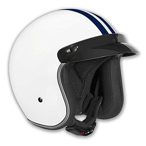 Vega X-380 Open Face Helmet With Blue Stripe (white, X-large)