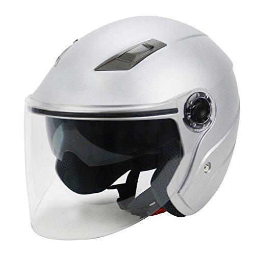 S-Raw Dual Lens Helmet DOT Motorcycle Helmet 34 Open Face Helmet Scooter Helmet Matte Silver M