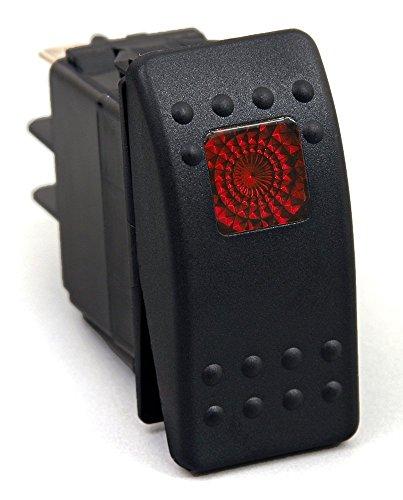 20 Amp Red Light Rocker Switch Kit Dash 3pin 12V SR1001BLPFBA - Universal