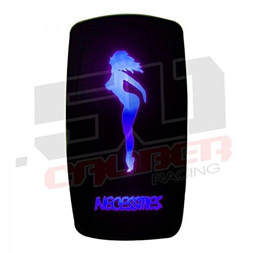 50 Caliber Racing Led Rocker Switch OnOff Blue Necessities 3 pin 12v 24v 20a