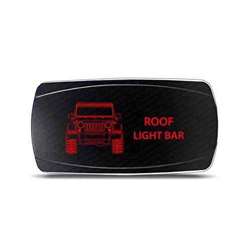 CH4x4 Rocker Switch Jeep Wrangler JK Roof Light Bar Symbol – Horizontal - Red LED