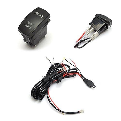 LED Light Bar Laser Rocker Switch Relay Wiring Harness Kit for Ranger and RZR 1000 Commander Maverick Kubota