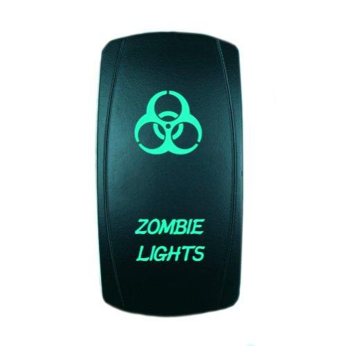 Laser Rocker Switch Backlit ZOMBIE LIGHTS 12V Bright Light Powersports Green