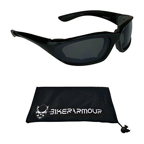 Small Motorcycle Sunglasses Foam Padded for Women Boys and Girls Alfer Blk smoke