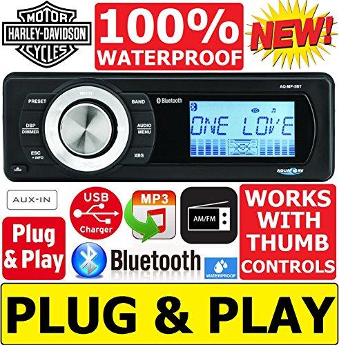 Plug -And -Play Harley Davidson Touring 1998-2013 Aquatic AV Waterproof Radio Stereo Works With Thumb Controls