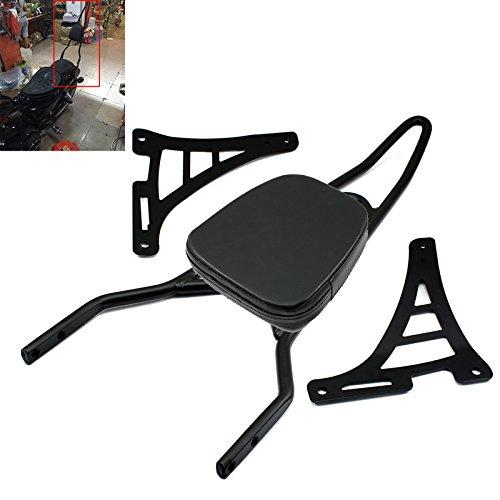 Motorcycle Detachable Backrest Rear Passenger Driver Rider Backrest Sissy Bar Mount Kit with Leather Back Rest Seat Pad For Harley Sportster 883 1200 XL 48 72 04-14Black