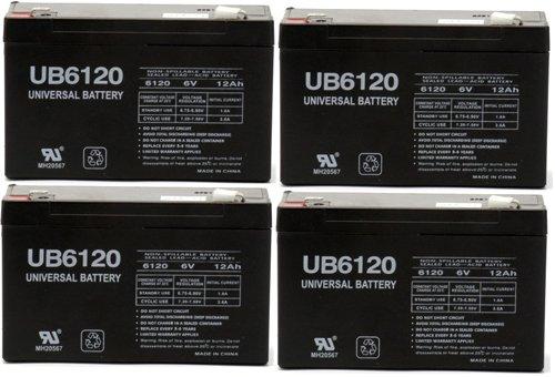 6V 12Ah SLA UB6120 Sealed Lead Acid Universal Battery F1 - 4 Pack
